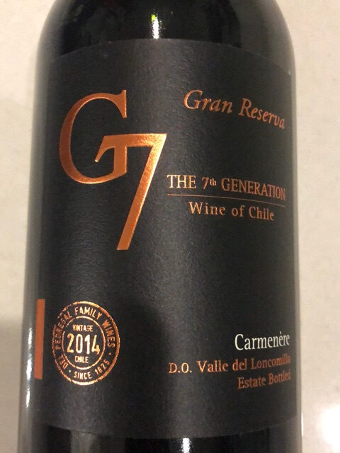 Rượu Vang Chile G7 Gran Reserva Carmenere được làm từ loại nho thượng hạng Carmenere