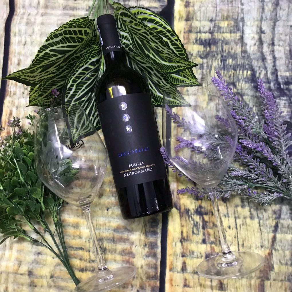 Ảnh decor rượu vang FARNESE Luccarelli Negroamaro bên 2 ly không và hoa lá