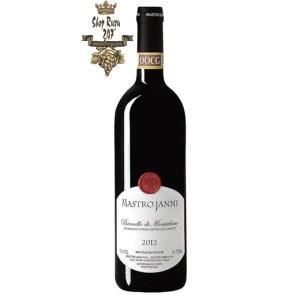 Rượu Vang Đỏ Brunello Di Montalcino Mastro Janni có mầu đỏ đẹp mắt. Hương thơm của trái cây và gia vị kết hợp ngọt ngào với nhau cùng gợi ý của thuốc lá