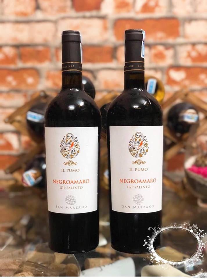 ảnh chụp 2 chai rượu vang Ý IL Pumo Negroamaro