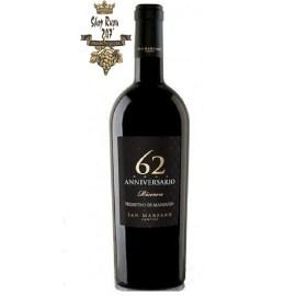Rượu vang Ý Đỏ 62 Anniversario Primitivo (ảnh bởi shopruou247.com)