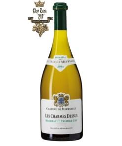 Vang Trắng Pháp Meursault Charmes có mầu vàng rơm sống động. Hương thơm độc đáo của hoa mai, hoa đào trắng