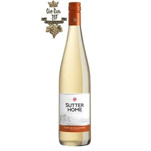 Vang Trắng Mỹ Sutter Home Gewurztraminer có mầu vàng đẹp mắt. Loại rượu vừa ngon ngọt này là sự kết hợp của trái cây vải tươi