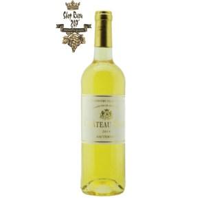 Rượu Vang Trắng Chateau Suau Sauternes Grand Cru Classe 2014 có mầu vàng tinh tế, sang trọng. Hương thơm kết hợp của 2 giống nho