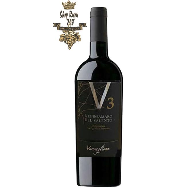 Rượu Vang Ý V3 Negroamaro del Salento IGP đốn tim thực khách bằng sắc đỏ sẫm màu pha ánh tím. Hương thơm nồng nàn của trái cây chín mọng, anh đào, mâm xôi hòa quyện