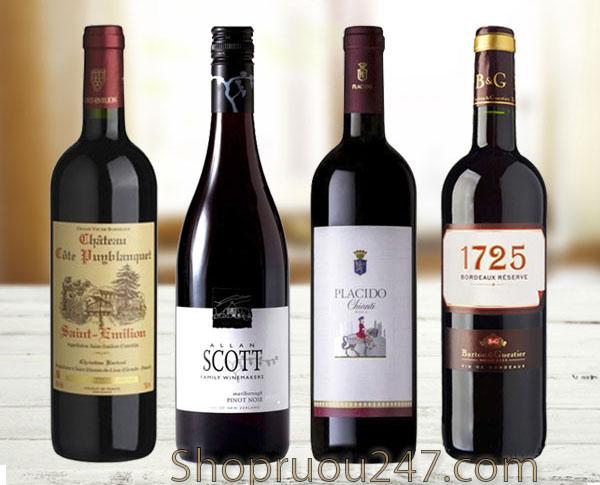 Một số chai rượu vang đỏ minh họa