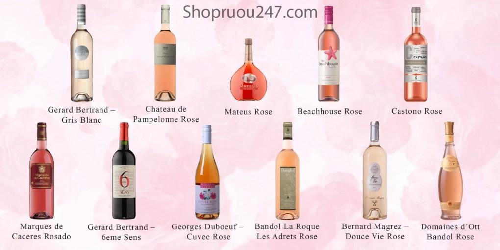 Tổng hợp những chai rượu vang hồng được yêu thích