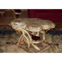Natural Furniture Burl Wood Coffee Table With Shelf ...