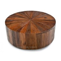 Rustic Round Coffee Table with Drawer - Rustic | Log ...