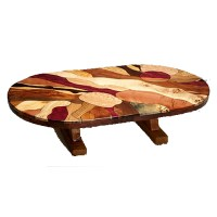 Artistic Oval Mosaic Burl Wood Coffee Table with Juniper