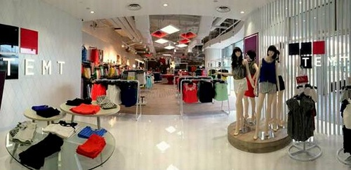 TEMT clothing shop, located at the VivoCity shopping mall in Singapore.