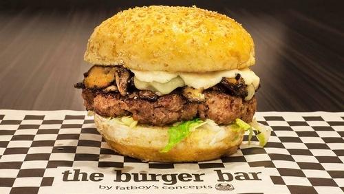 The Burger Bar Swiss Shroom hamburger Singapore.