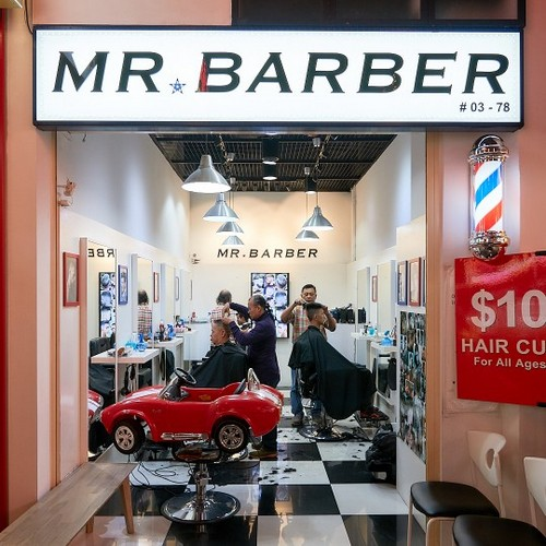 Mr. Barber barbershop at Jurong Point shopping centre in Singapore.
