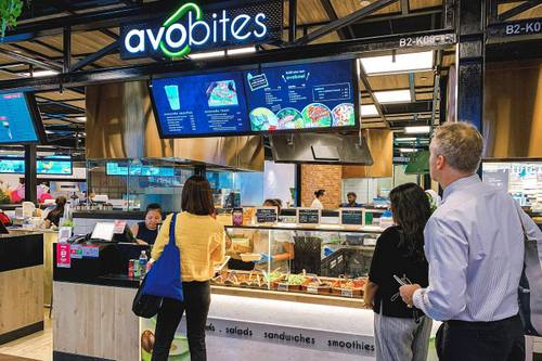 avobites avocado specialty food kiosk at Funan mall in Singapore.