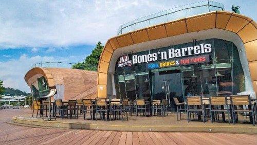 Bones 'n Barrels bar-restaurant at Sentosa Boardwalk in Singapore.
