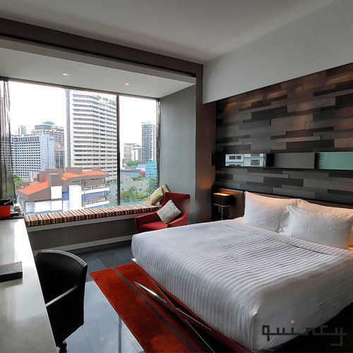 Guest room at The Quincy Hotel in Singapore.