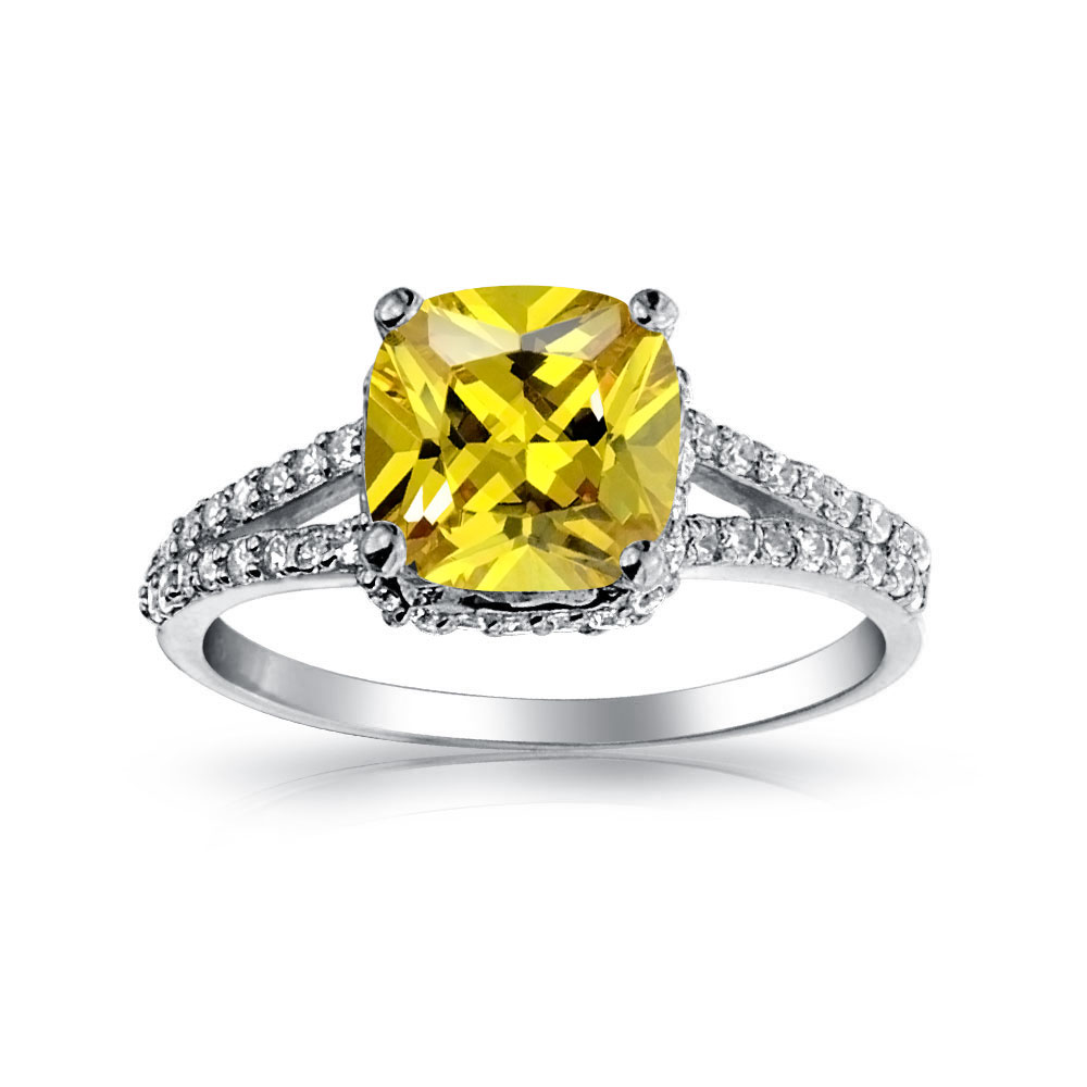 Bling Jewelry 925 Silver 2 Carat Cushion Cut Canary Cz Engagement Ring Shopsmart