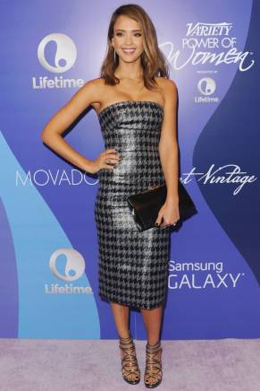 Jessica Alba: With a pattern, that is of dark hues, expect Holiday Cheer.