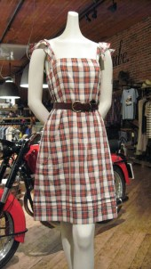 Plaid, Cotton. Vintage Leather Belt