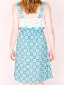 Ruffle dress teal. back