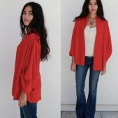 Goddis Easton open front cardigan in Red Rock