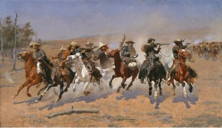 "Frederic S. Remington ""A Dash for the Timber"" 1889, oil on canvas Amon Carter Museum, Fort Worth, Texas 1961.381"