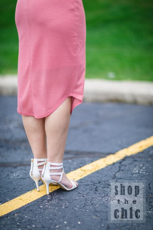 These cute white heels are Nine West. The white ankle strapped heels are perfect for spring and summer outfits.