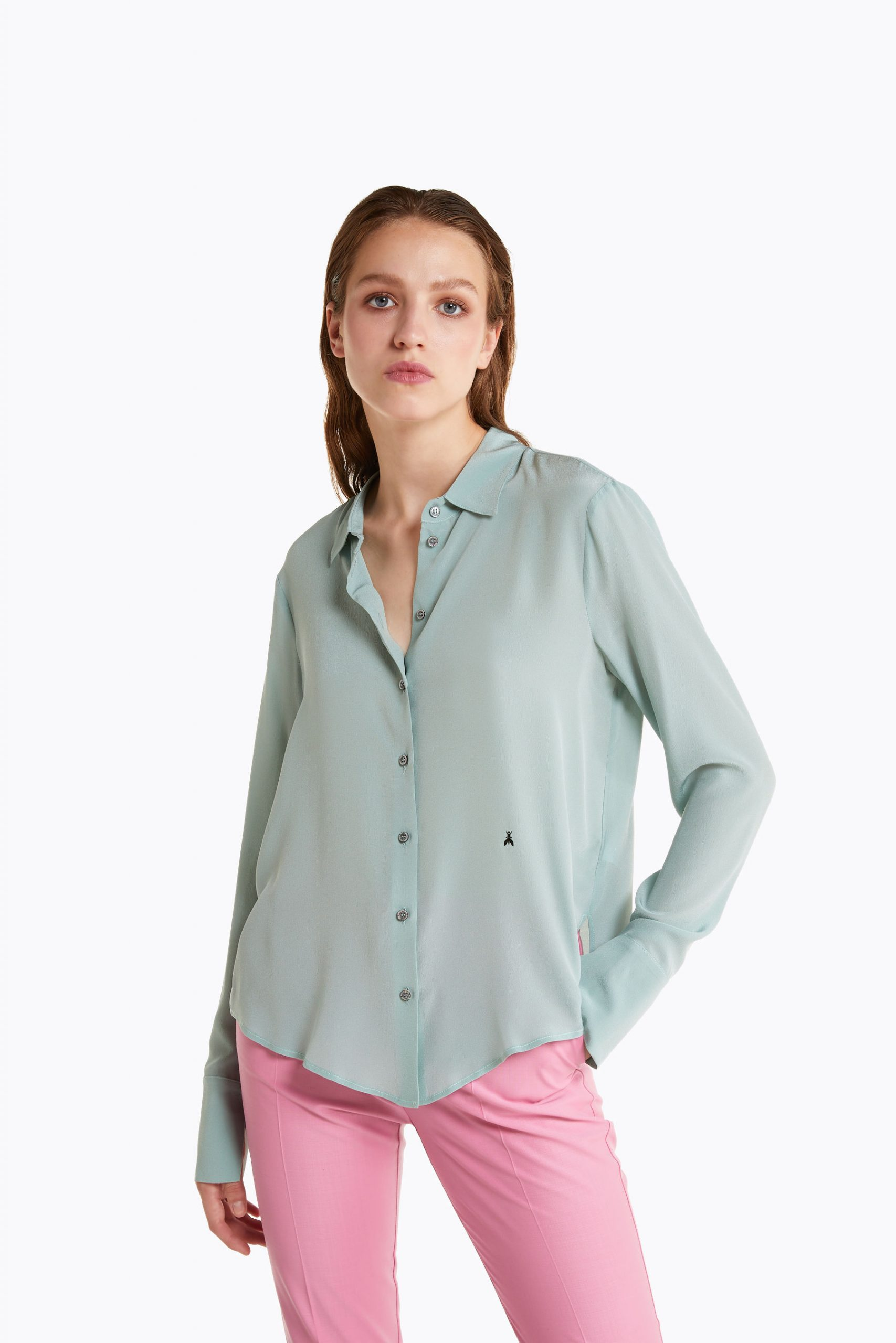 Abbigliamento Patrizia Pepe  Camicia in crêpe de chine di seta Soft Green female collezione 2020 shop the look