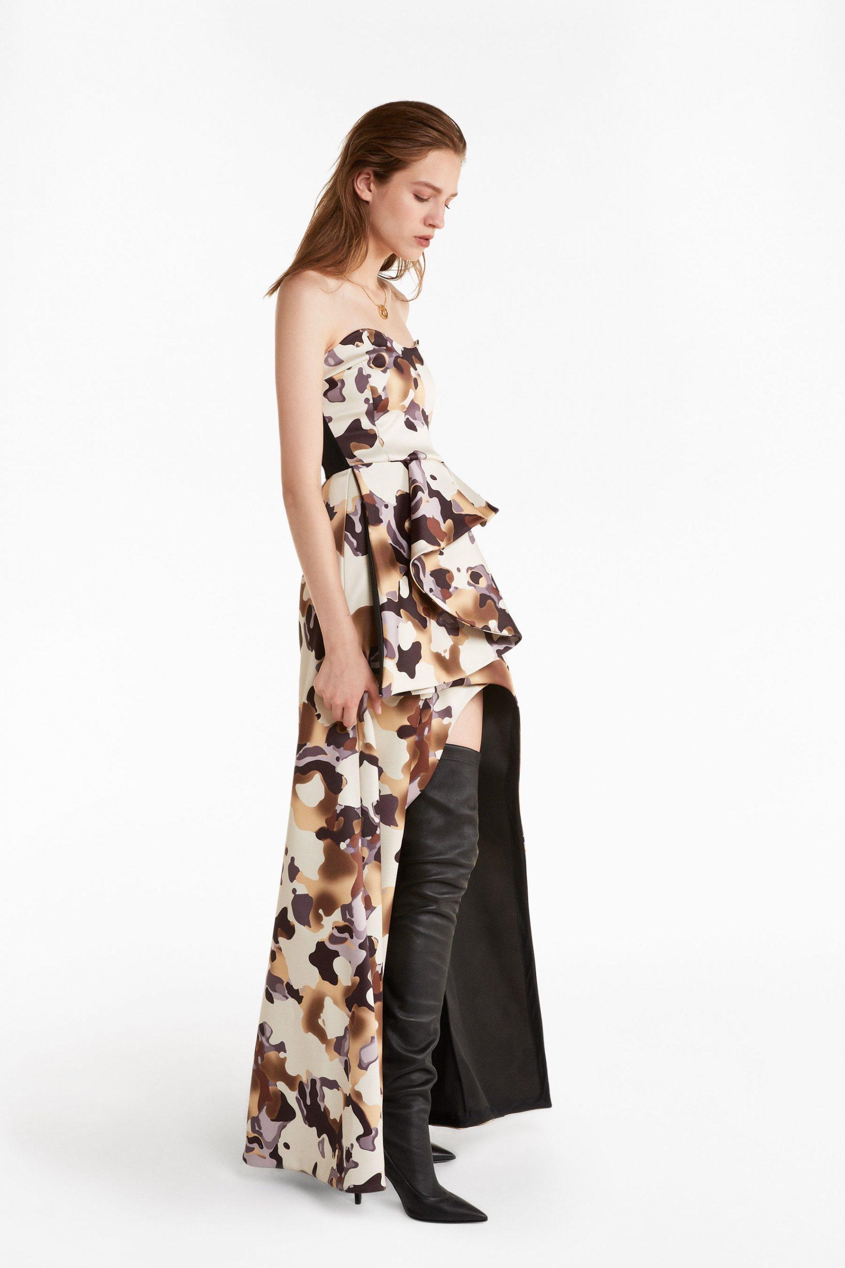 Abbigliamento Patrizia Pepe  Abito Couture con stampa camouflage Golden Camouflage female collezione 2020 shop the look