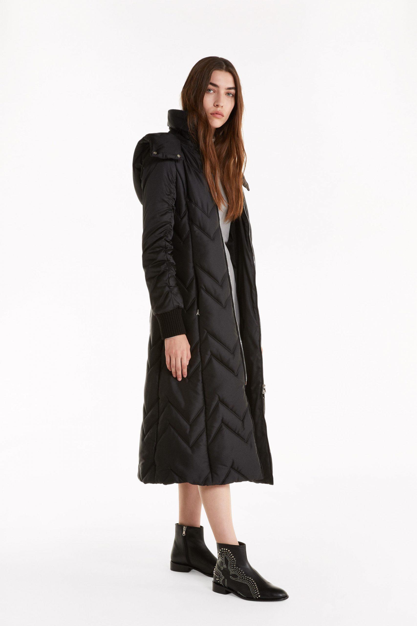 Abbigliamento Patrizia Pepe  Piumino lungo trapuntato con cappuccio Black female collezione 2020 shop the look