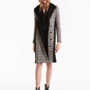 """Abbigliamento Patrizia Pepe  Cappotto in panno di lana """"Moon Check"""" Black&GreyCheck female collezione 2020 shop the look"""
