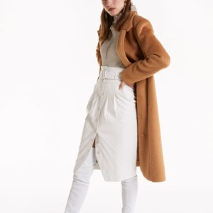 Abbigliamento Patrizia Pepe  Cappotto midi effetto spettinato Light Mustard Brown female collezione 2020 shop the look