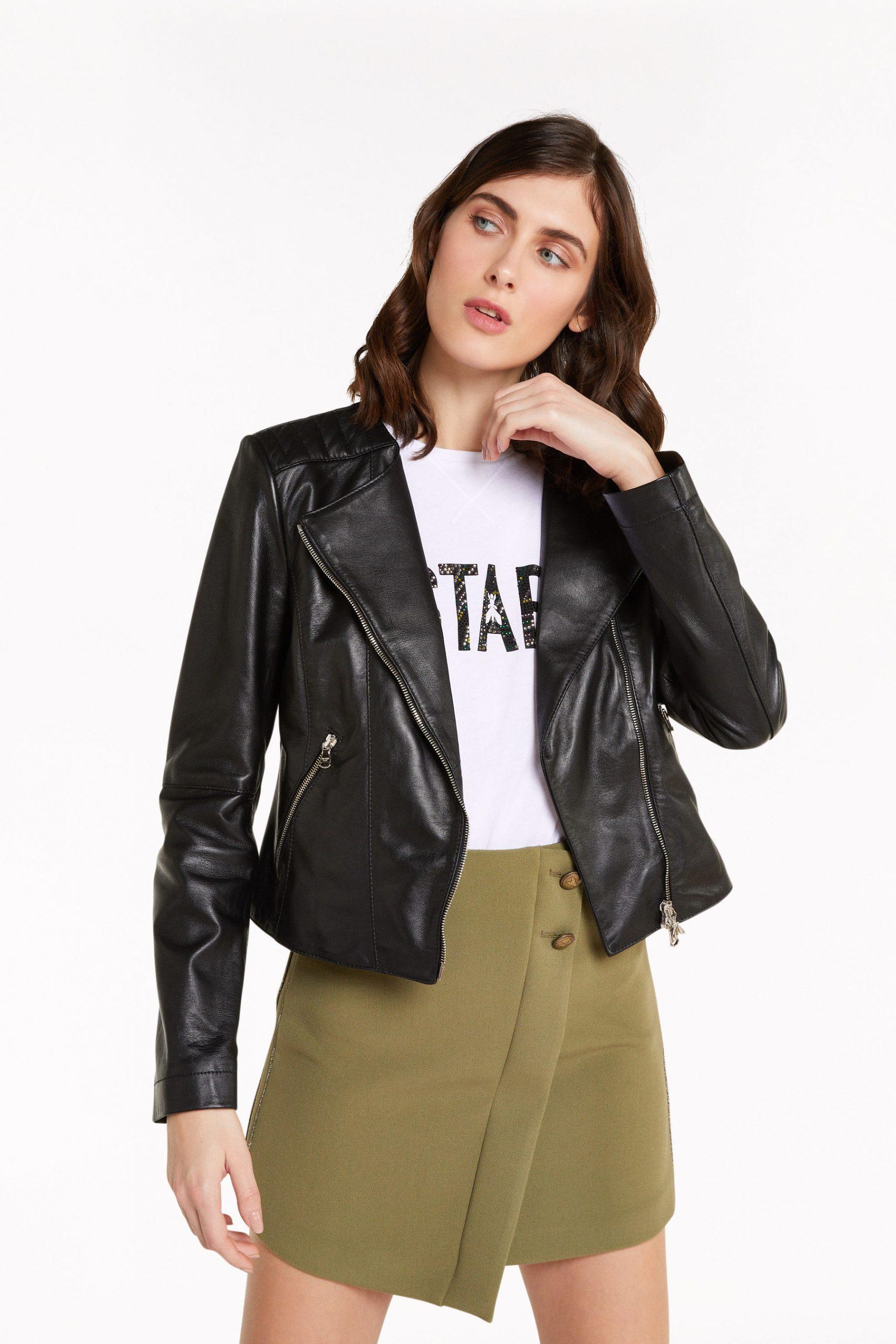 Abbigliamento Patrizia Pepe  Giubbotto biker girocollo Black female collezione 2020 shop the look