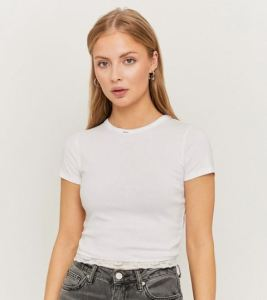 Top Bianco Cropped basic 100% cotone