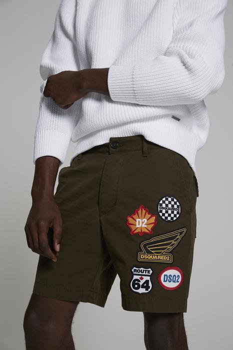 DSQUARED2 Uomo Shorts Verde militare Taglia 42 100% Cotone