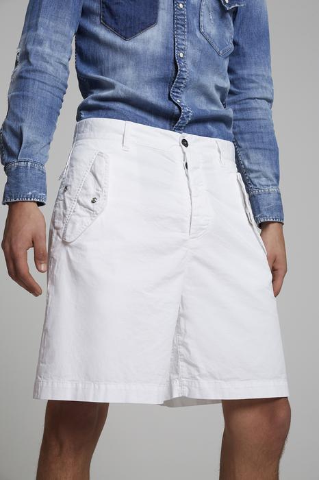 DSQUARED2 Uomo Shorts Bianco Taglia 42 97% Cotone 3% Elastan