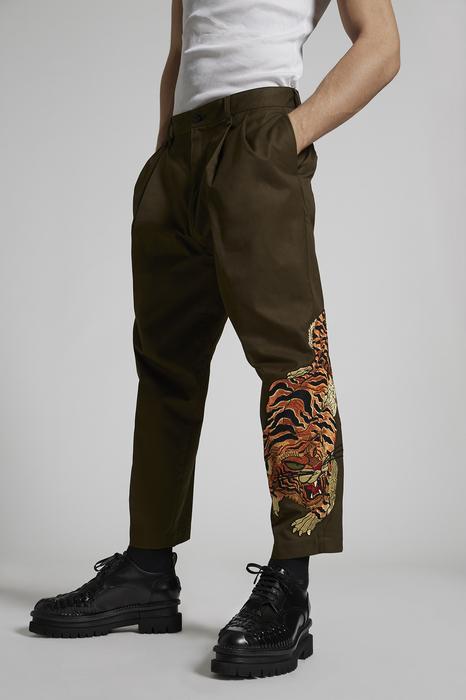 DSQUARED2 Uomo Pantalone Verde militare Taglia 42 100% Cotone