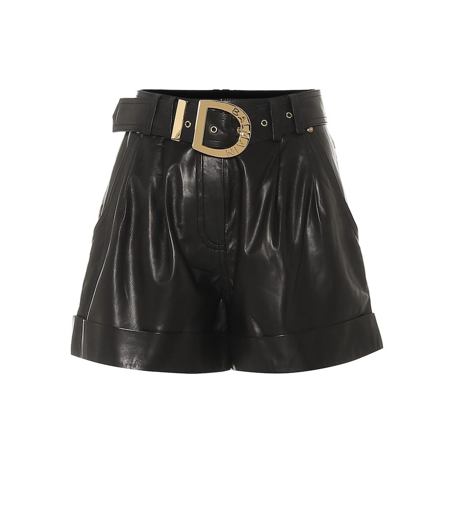 Shorts a vita alta in pelle female