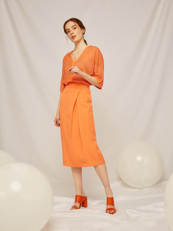 Caractere Abbigliamento > Gonne Arancione - Caractère Gonna con piega laterale Donna Arancione