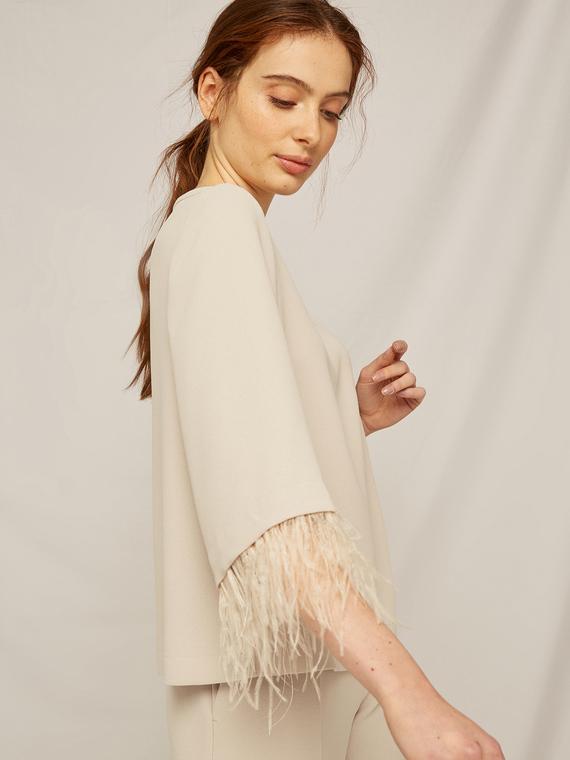 Caractere Abbigliamento > Camicie e bluse Beige - Caractère Blusa con bordi in piume Donna Beige