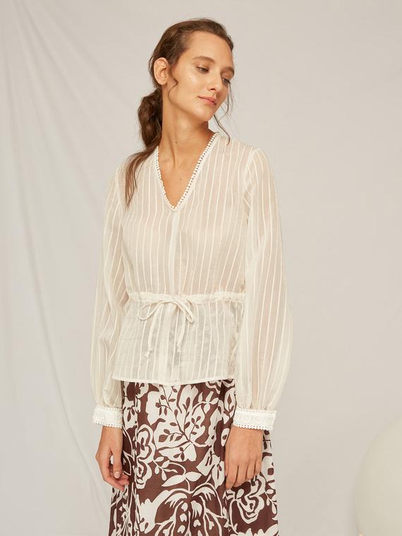 Caractere Abbigliamento > Camicie e bluse Bianco - Caractère Blusa a righe Donna Bianco