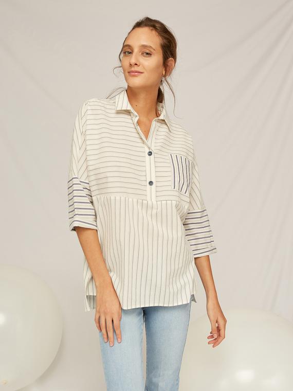 Caractere Abbigliamento > Camicie e bluse Blu - Caractère Camicia con mix di righe Donna Blu