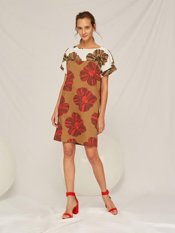 Caractere Abbigliamento > Abiti Beige - Caractère Abito floreale in cotone Donna Beige