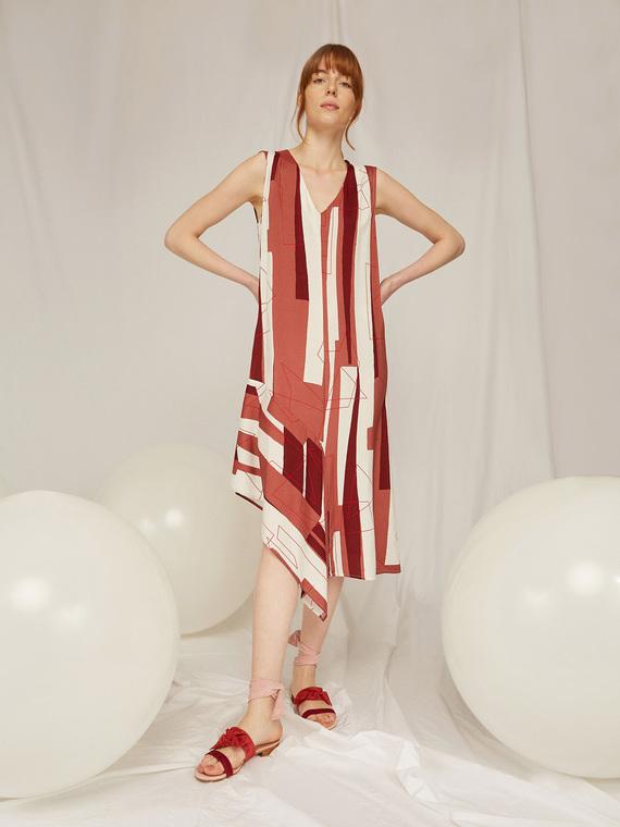 Caractere Abbigliamento > Abiti Marrone - Caractère Abito stampato asimmetrico Donna Marrone