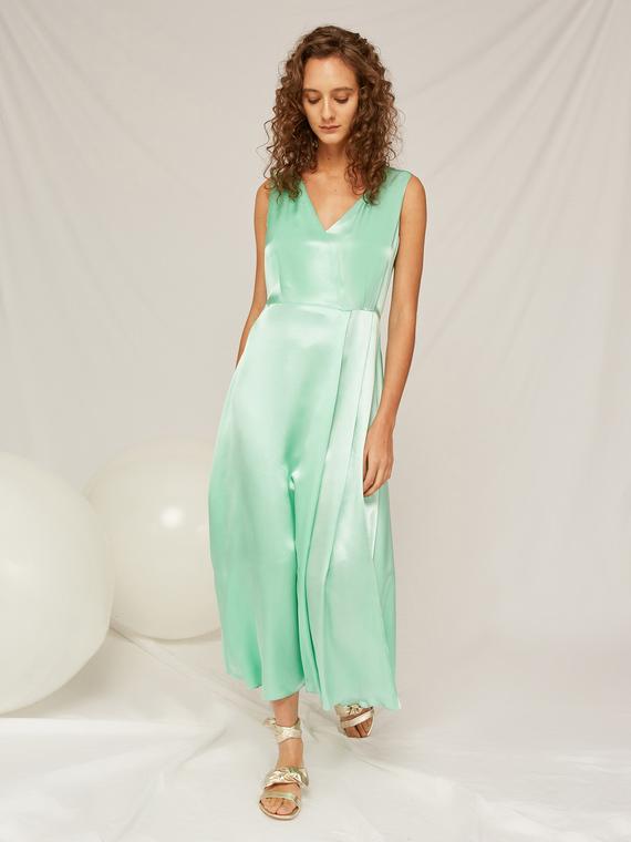Caractere Abbigliamento > Abiti Verde - Caractère Abito lungo in raso Donna Verde