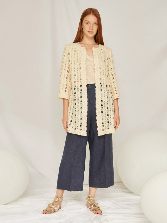Caractere Cappotti e giacche > Giacche e blazer Beige - Caractère Giacca lunga in pizzo Donna Beige