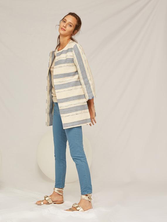 Caractere Cappotti e giacche > Giacche e blazer Blu - Caractère Giacca lunga in tessuto jacquard Donna Blu
