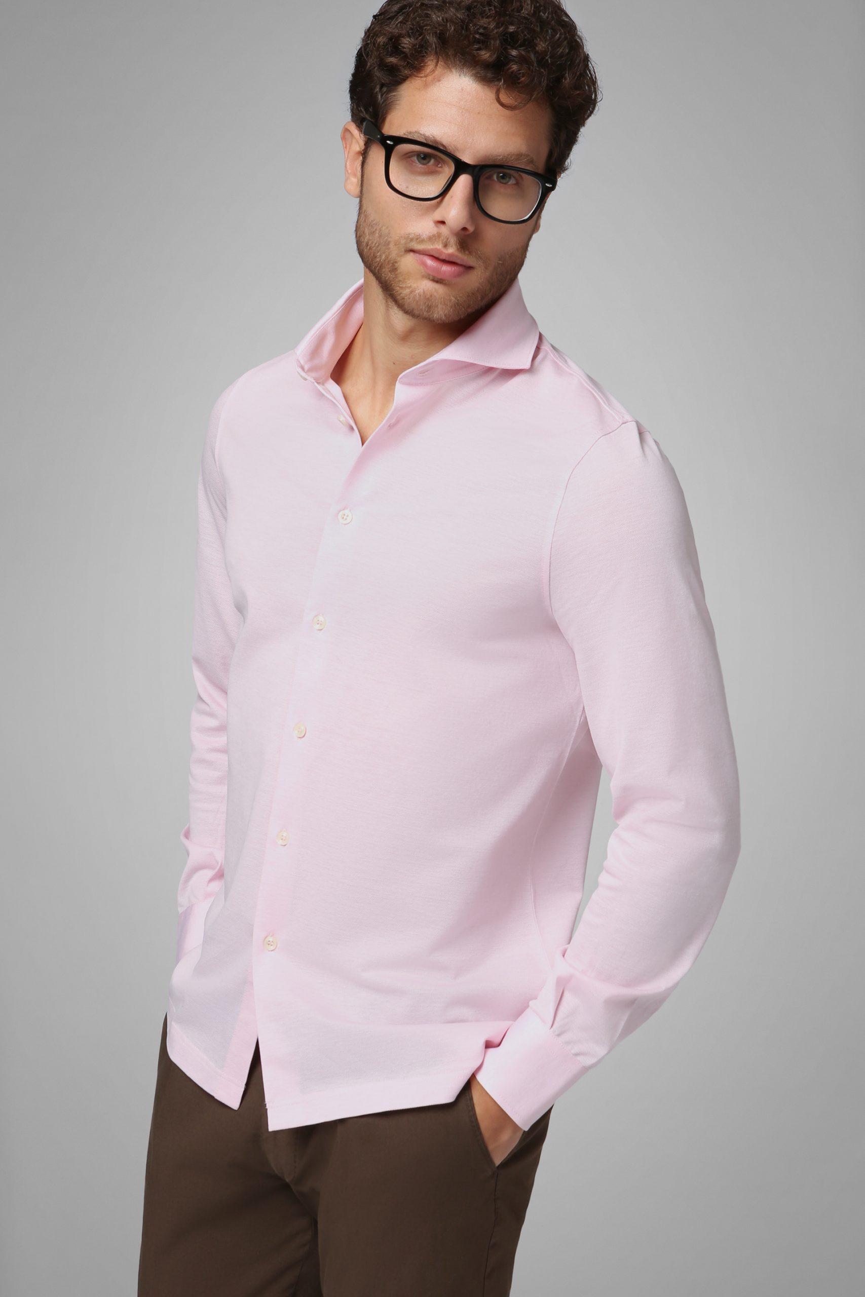 Camicie da uomo in colore Rosa in materiale