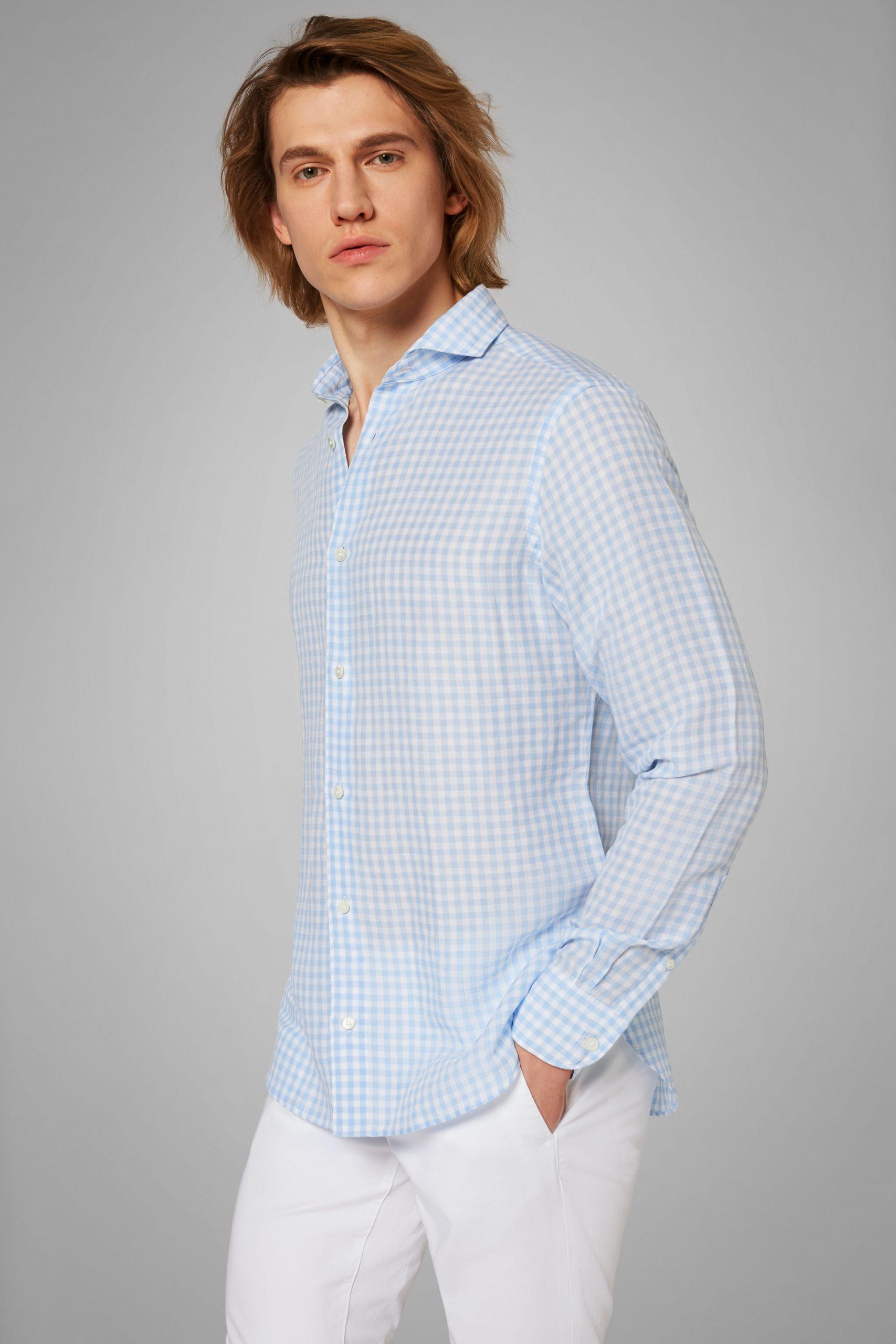 Camicie da uomo in colore Azzurro in materiale