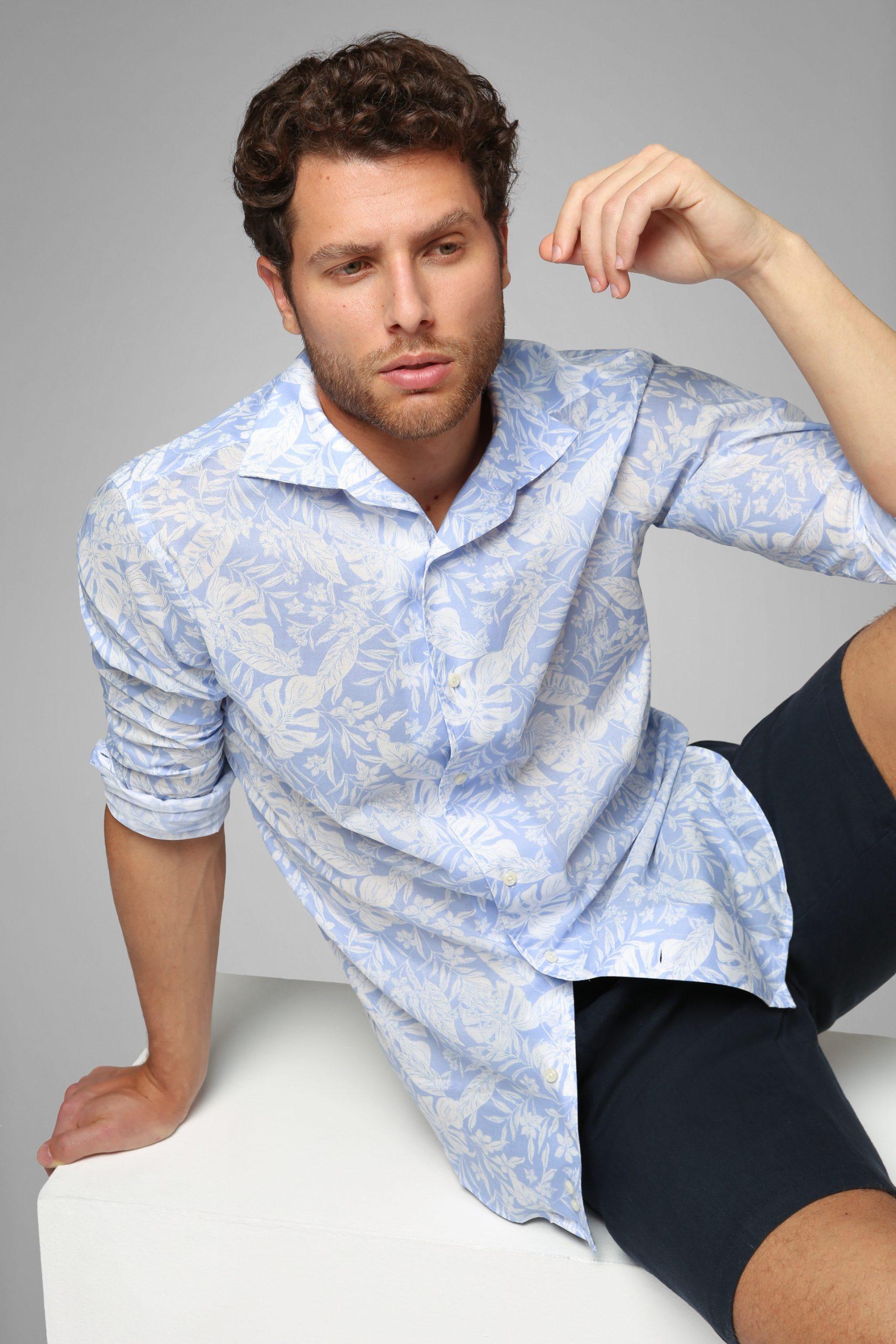 Camicie da uomo in colore Azzurro Bianco in materiale
